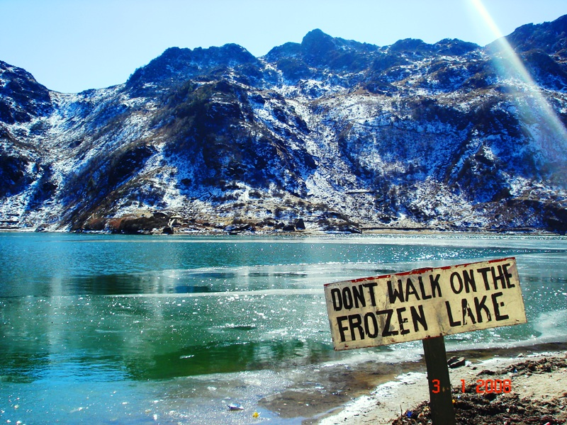 Partly Frozen sacred Changu Lake also calles Tsongmo Lake
