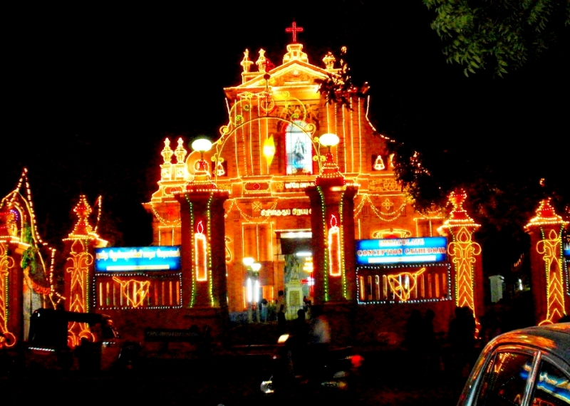 A decorated church on Christmas, Pondicherry