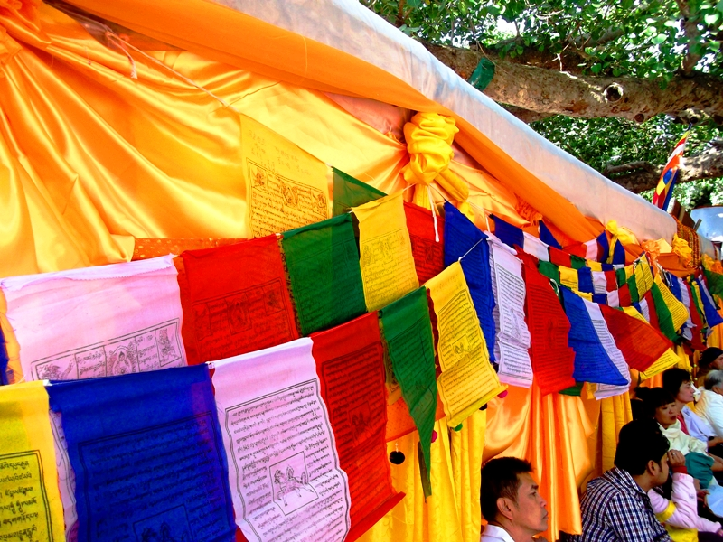 Prayer flags and clothings used to decorate the Bodhi temple