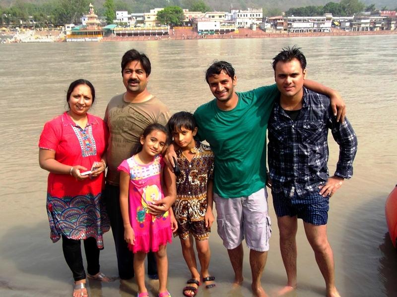 after rafting at the bank of rishikesh