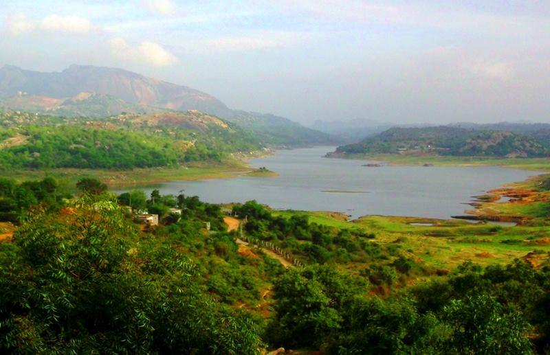 manchanbele dam and savanadurga in the background
