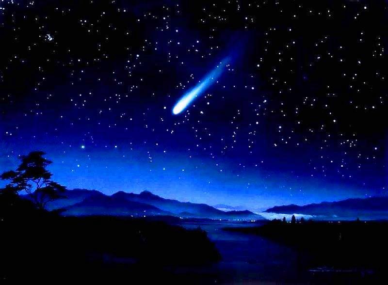 Meteor shower, kiss ona night trek