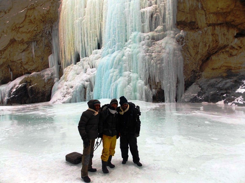 A frozen waterfall, Zanskar valley, chadar trek