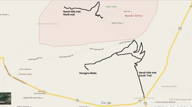 Nandi Hill trekking route and trail map