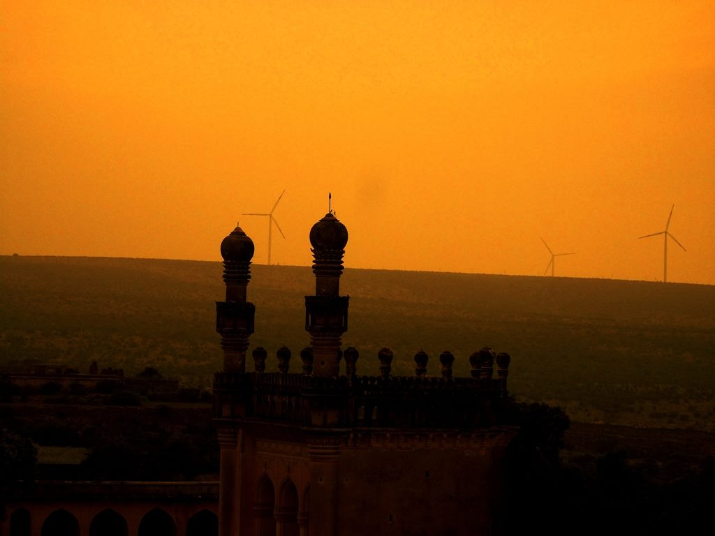 Sunset, windmills at gandikota