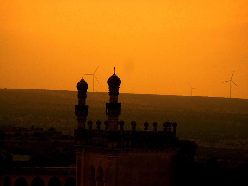 Sunset, windmills at gandikota