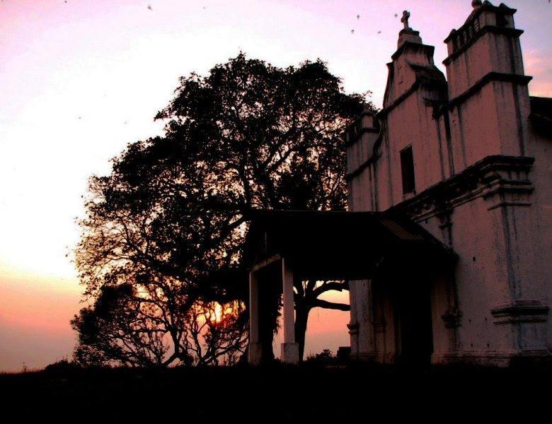 Three Kings Church in Goa at sunset