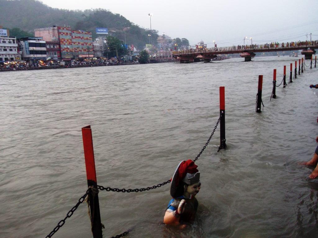 A statue inside Ganga in Haridwar