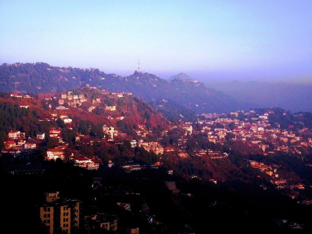 Different shades of hills over sunset in Mussoorie