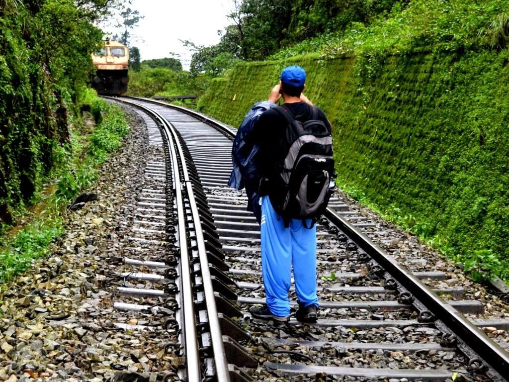 Facing a train on sakleshpur railway trek
