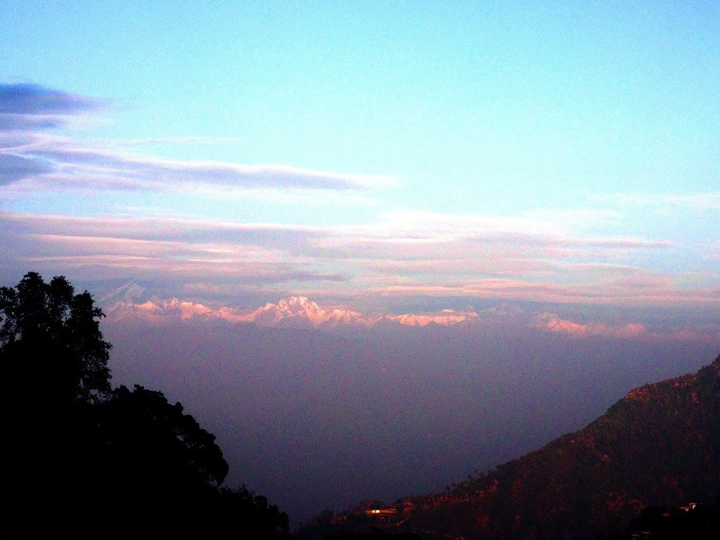 Himalayan peaks at dusk from Mussoorie