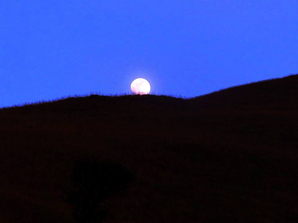 Moon appearing near Kallu Mantapa on Kumara Parvatha trek
