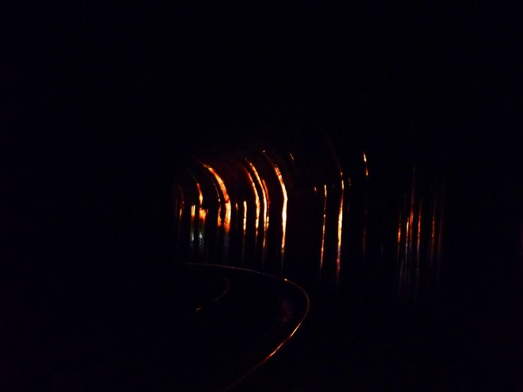 Reflection of train  head-light on the wall of tunnel on sakleshpur trek