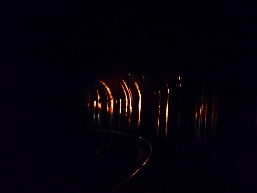 Reflection of train  head-light on the wall of tunnel on sakleshpur trek