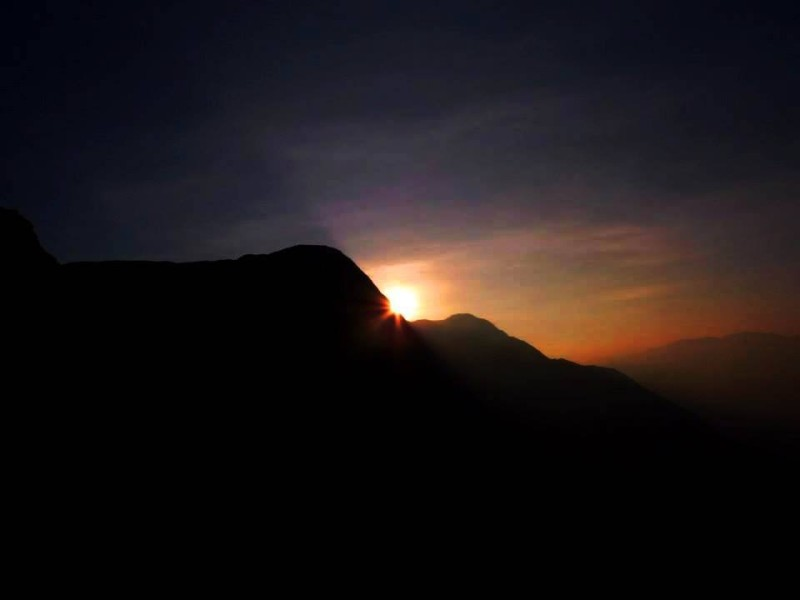 Sunrise from Shesha Parvatha on Kumara Parvatha trek