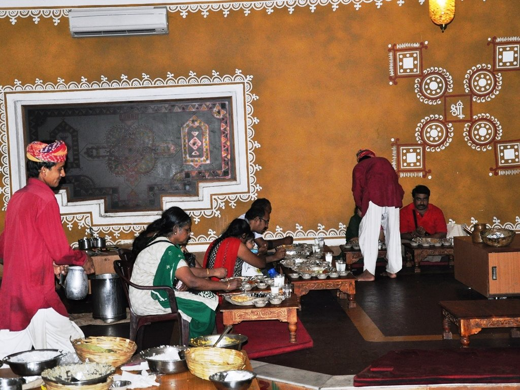 Traditional style of food at Chokhidhaani CHennai