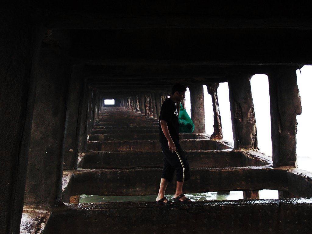 Walking under the Pondicherry harbor