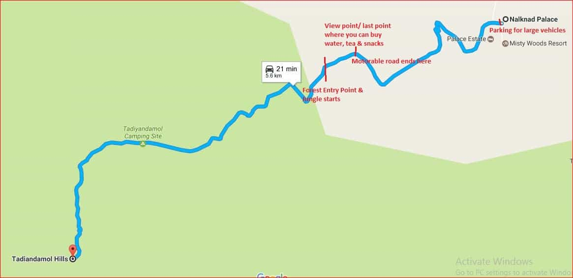 Tadiandamol route from Nalknad palace