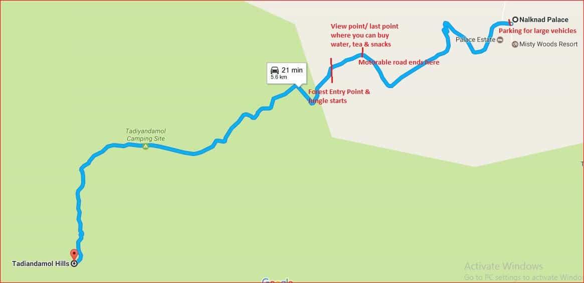 Tadiandamol route from Nalknad palace