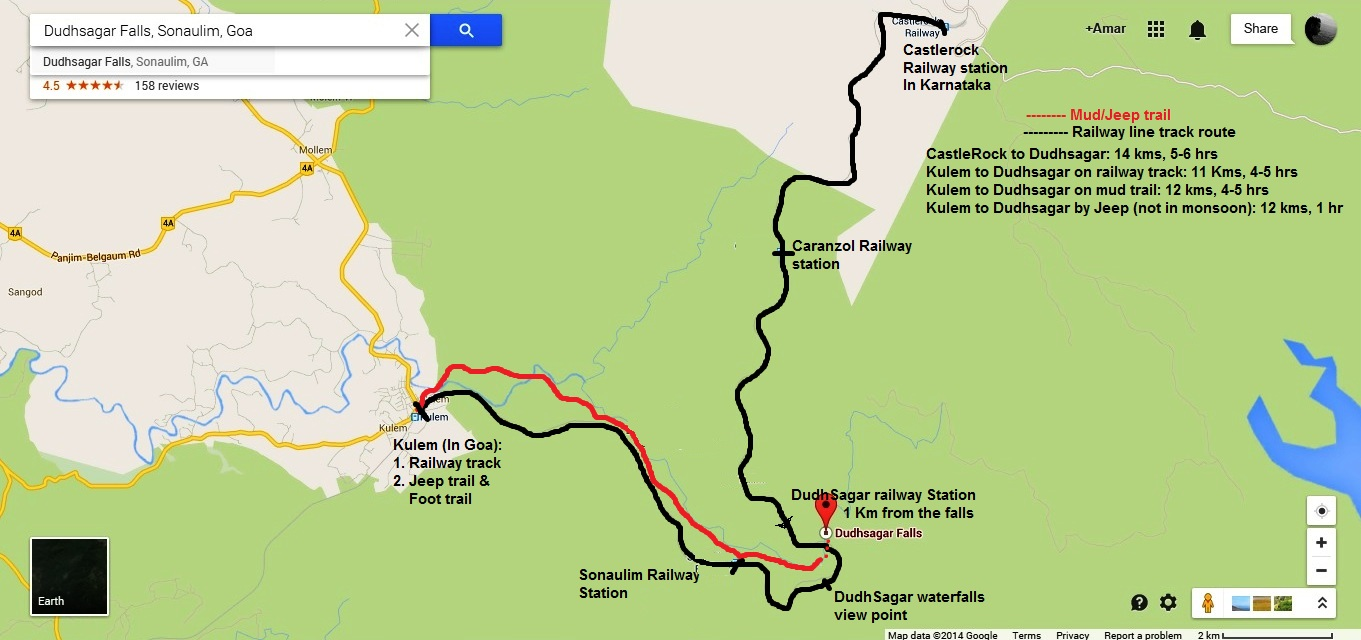 Dudhsagar trek route map details
