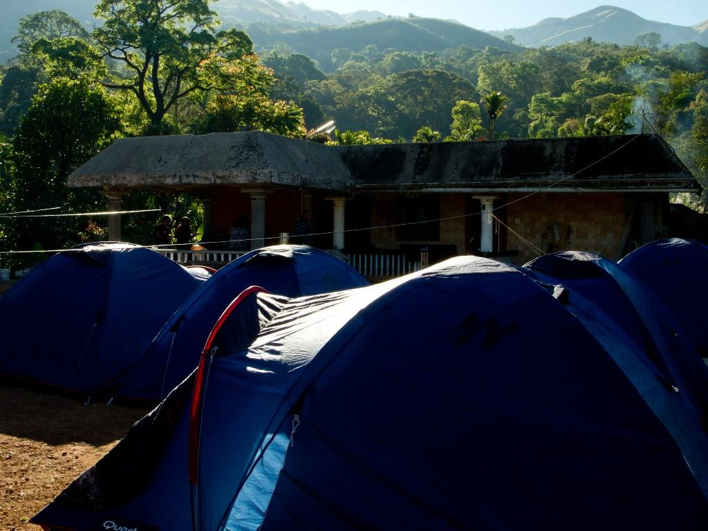 Tents at Kudremukh Mullodi house of Raje Gowda