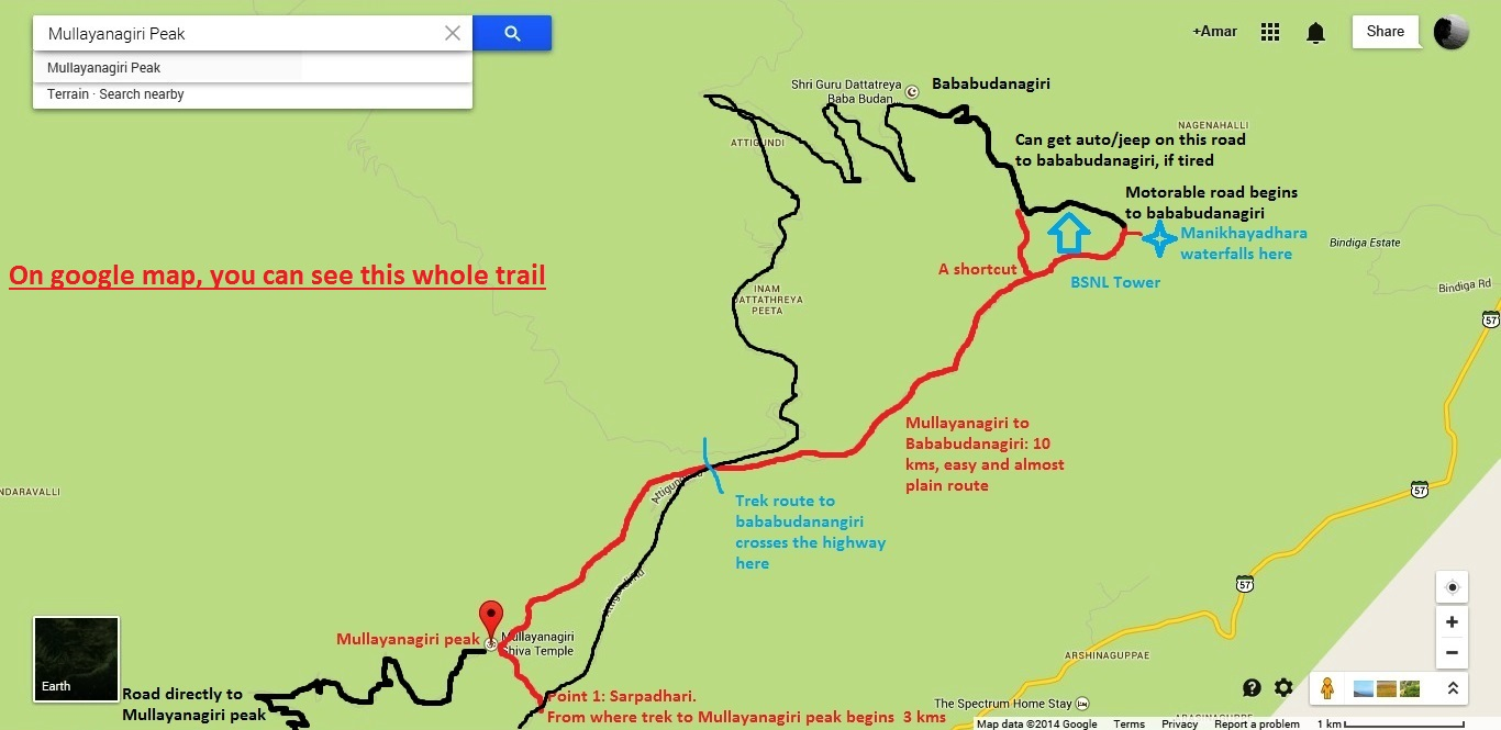 Mullayanagiri to bababudanagiri trek route