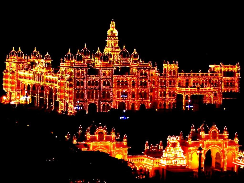 Mysore palace in Dussehra
