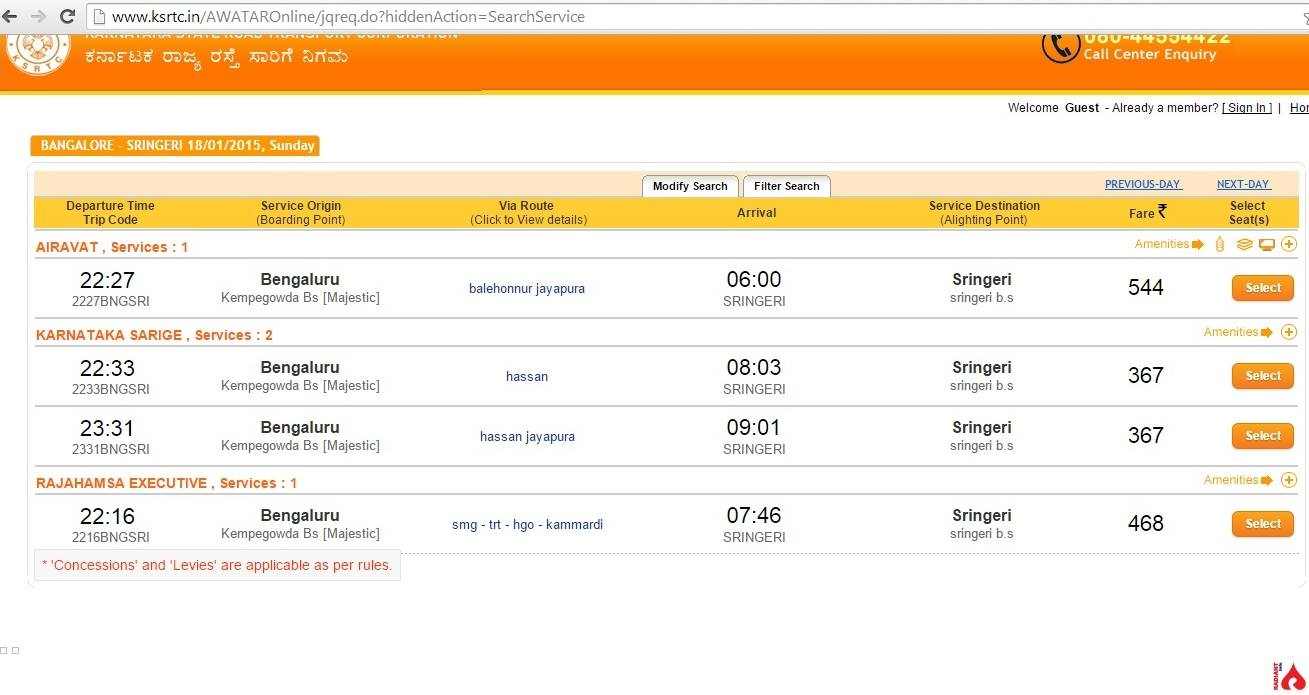 Bangalore to sringeri bus timings