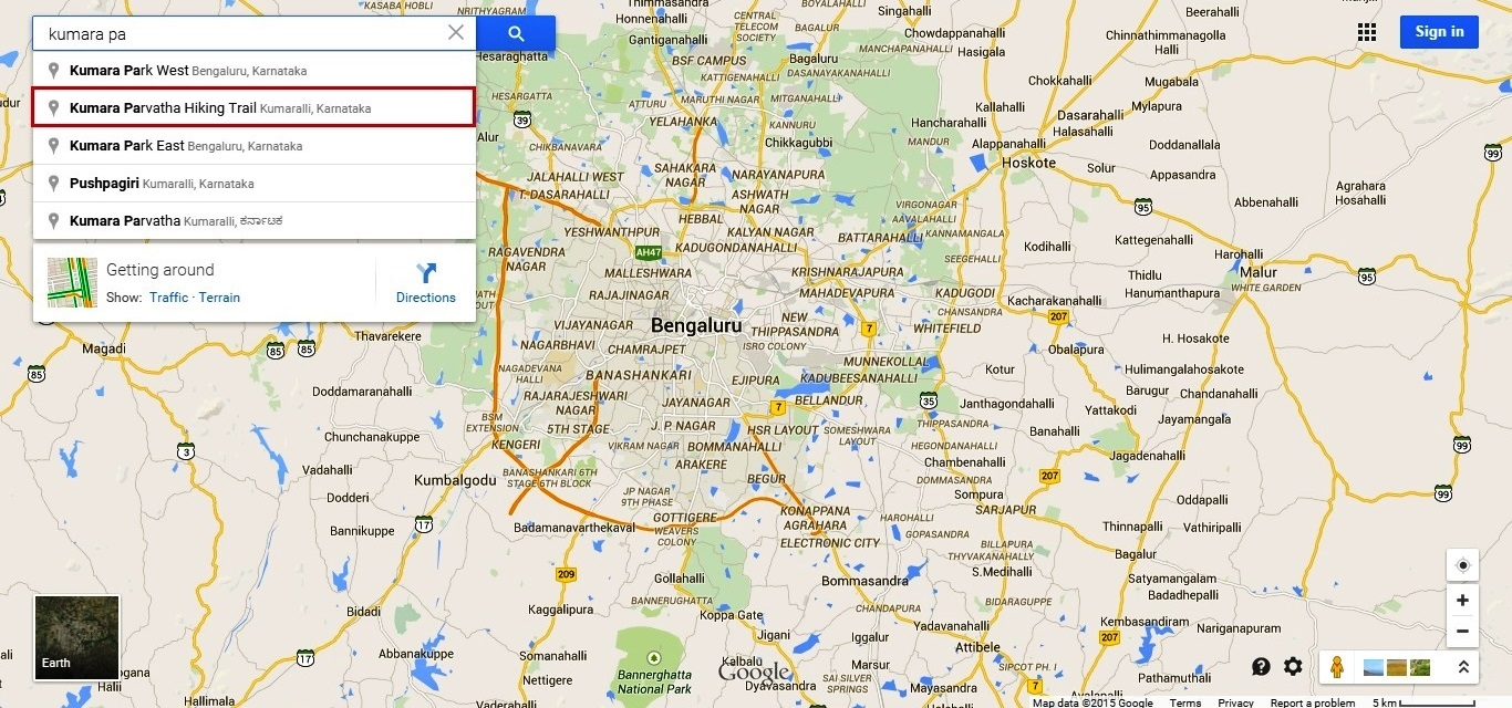 Google auto-completes the Kumara Parvatha hiking trail search in Google map