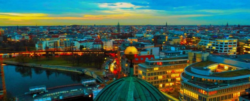 Berlin in evening from berlin cathederal church