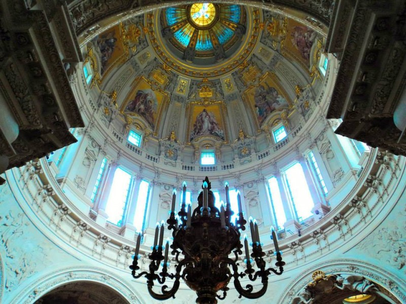 Dome of berlin cathederal church from inside