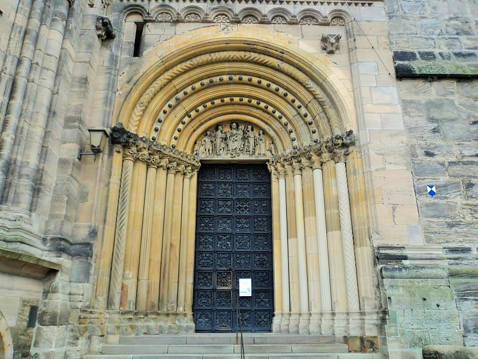 A big wooden front gate of Bamberg Cathedral