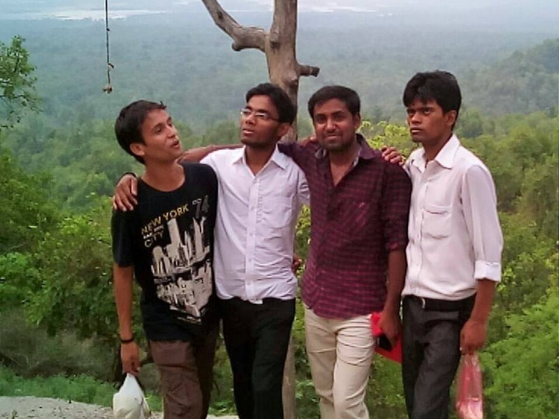 With my friends at Chandi devi temple, you can see the green valley in the backdrop