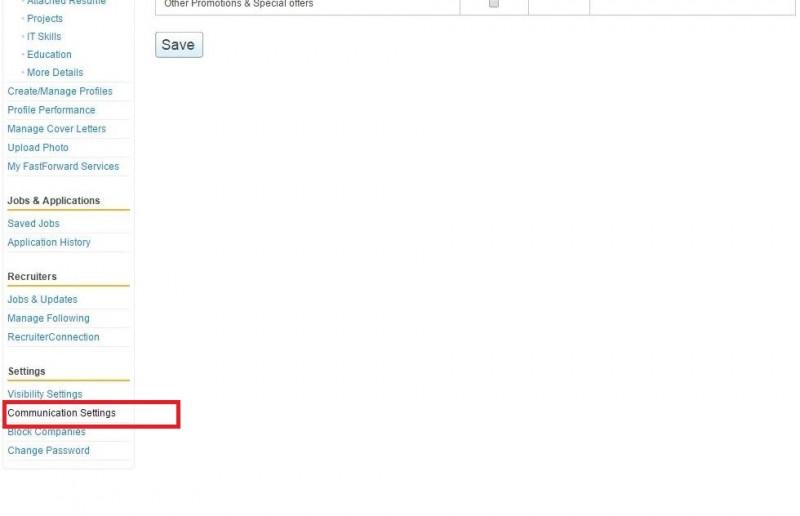 1. communication settings Naukri.com