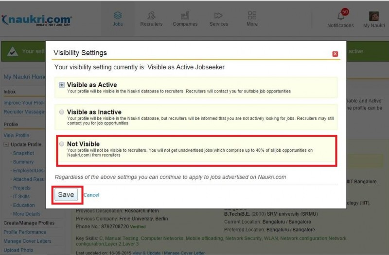 3. Visibility settings naukri.com