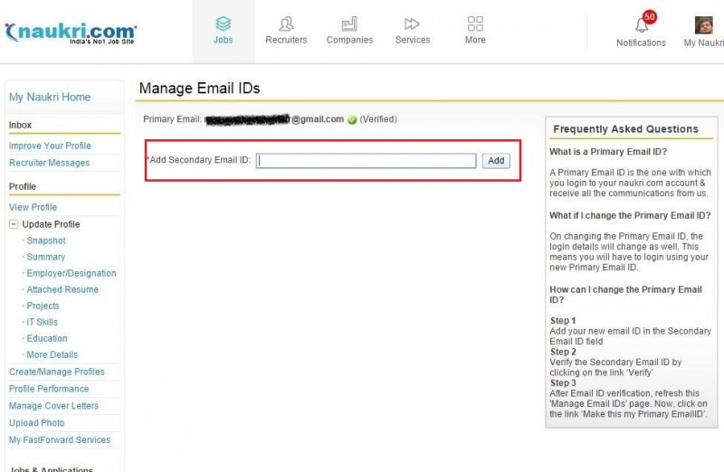 5. Add secondary email id on naukri.com