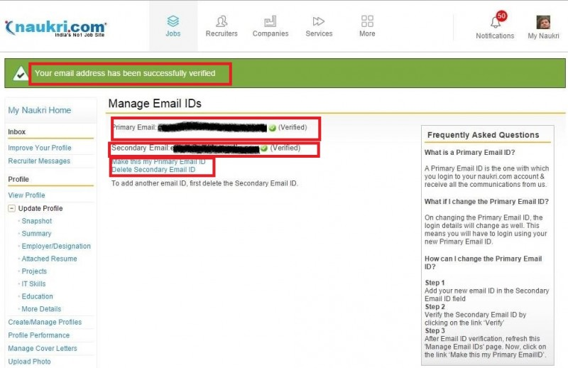 7. make secondary email id as primary email id