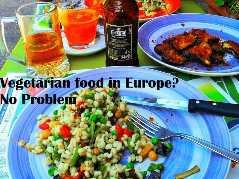 Vegetarian food in Europe- farro bean salad and fried egg plants in Italy