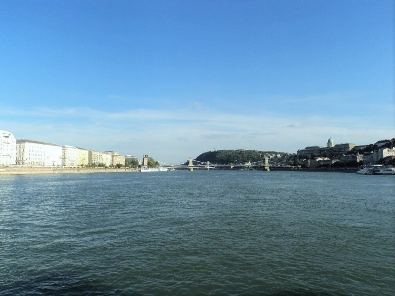 Chain bridge, Buda castle and Gilbert hill from the boat to Szentendre