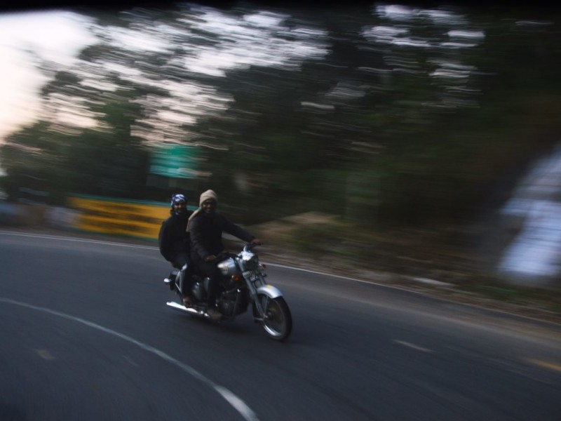Biking at hairpin bend en route yercaud from Salem