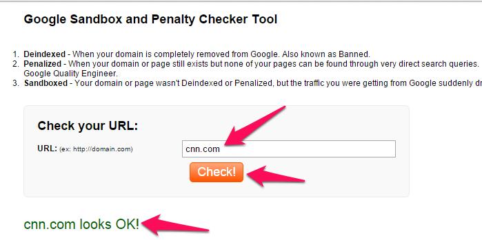 Google Penalty Checker tool