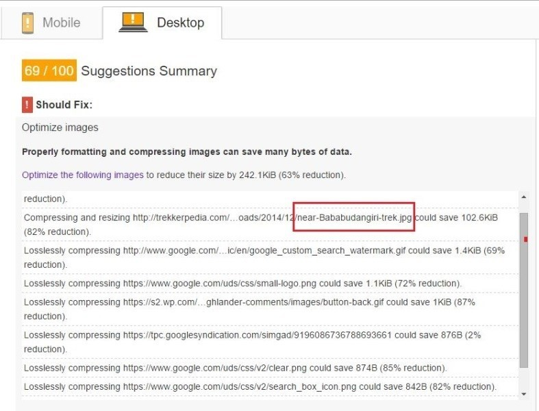 Page speed insights suggestions summary
