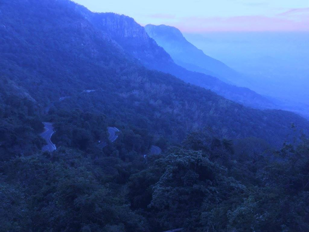 Yercaud hily road and mountains before sunrise