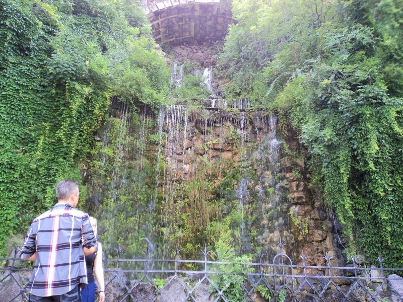 Gellert hill artificial waterfall at the entranace
