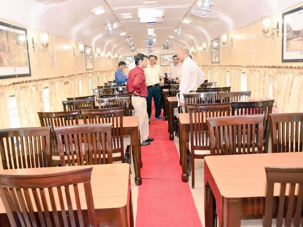 Inside tiger express train for tiger trail wildlife tour
