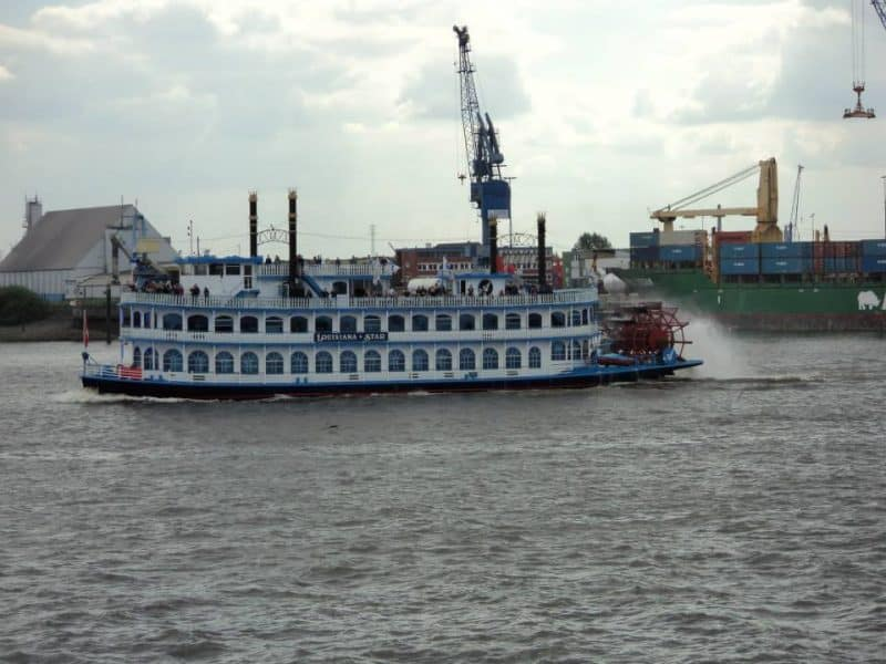 A wheel Ferry in the albe river, Hamburg