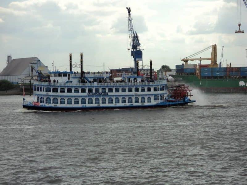 A wheel Ferry in the albe river, Hamburg