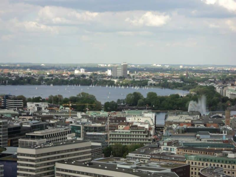 Außenalster lake view from At. Michael church, Hamburg