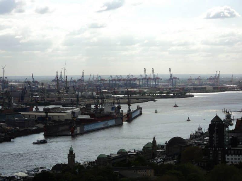 Hamburg Harbour view from the top of the St. Michael's church