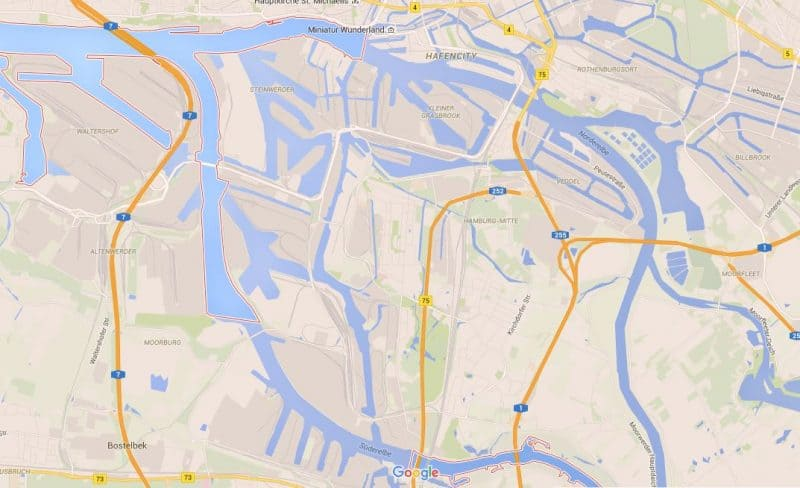 Hamburg canals Google maps view
